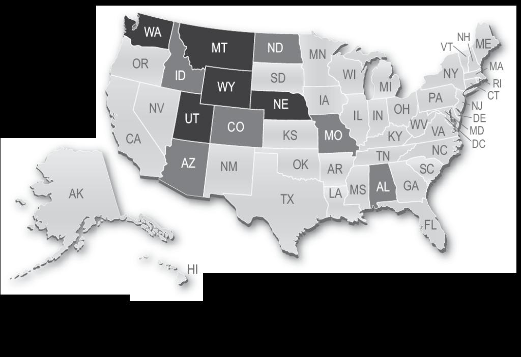 Map showing Nebraska, Utah, Montana, Washington, Wyoming first administered the UBE in 2013.