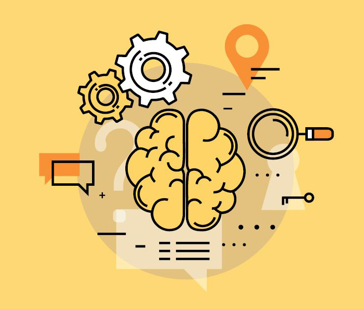 Illustration of brain with gears, magnifying glass, thought windows, and more elements to portray tasks and skills