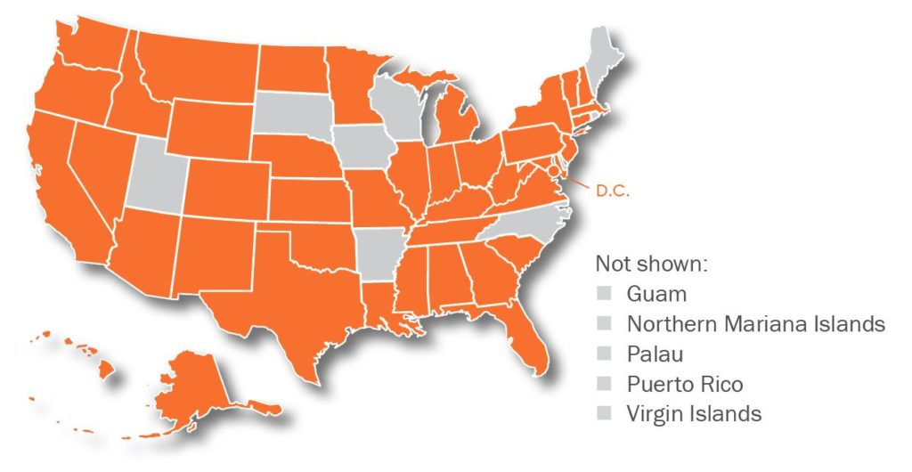 Map of the United States with home jurisdictions colored orange. Policy committee members are from all U.S. states except: South Dakota, Iowa, Arkansas, Wisconsin, North Carolina, Maine, Utah, and the U.S. Territories