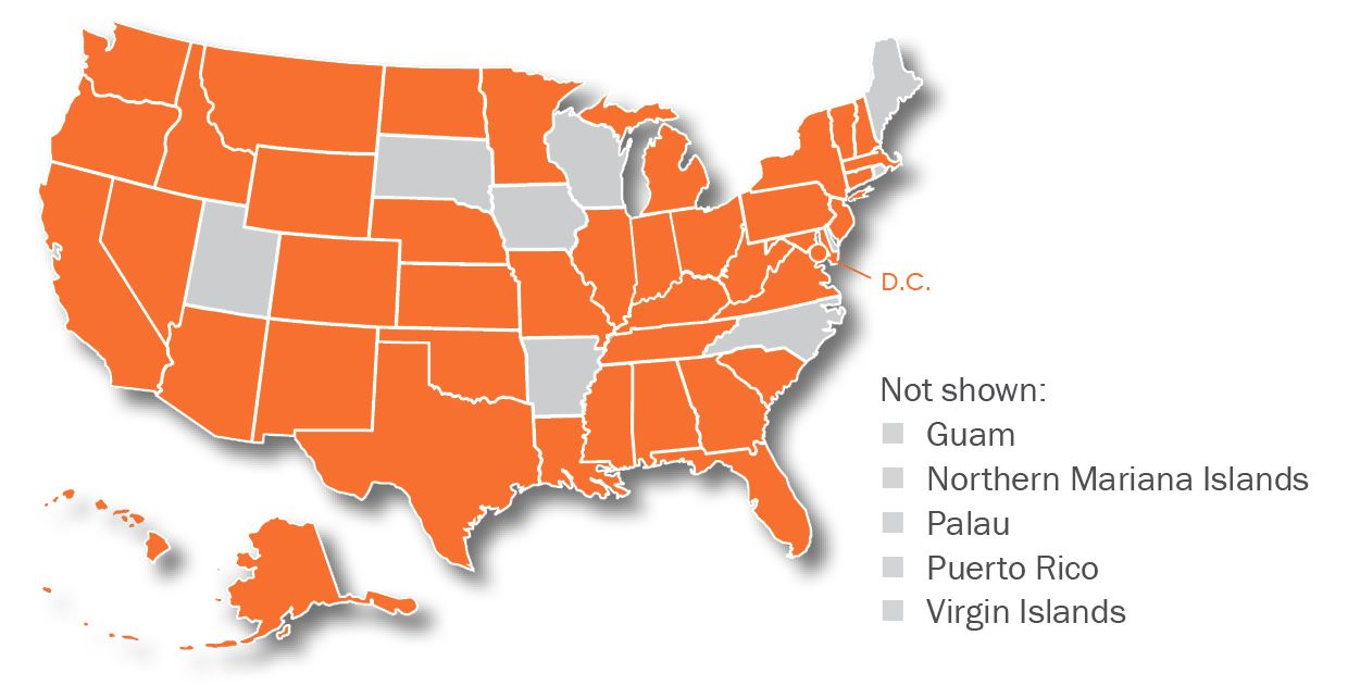 Map of the United States with home jurisdictions colored orange. Policy committee members are from all U.S. jurisdictions except: South Dakota, Iowa, Arkansas, Wisconsin, North Carolina, Maine, Rhode Island, Utah, and the U.S. Territories