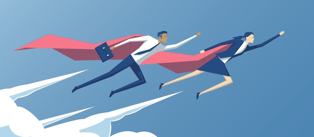 Illustration of two business people flying with capes