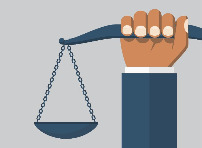 Illustration of hand holding the scale of justice