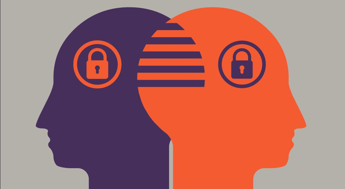 Illustration of 2 heads overlapping with 2 padlocks to portray security