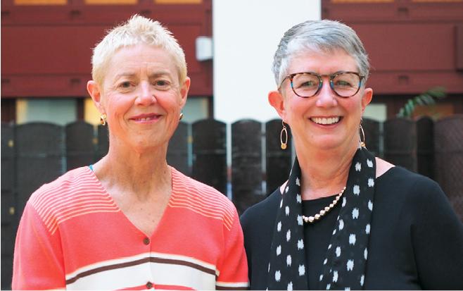 Photo taken at conference Barbara Bowe, Marilyn Wellington (both MA)