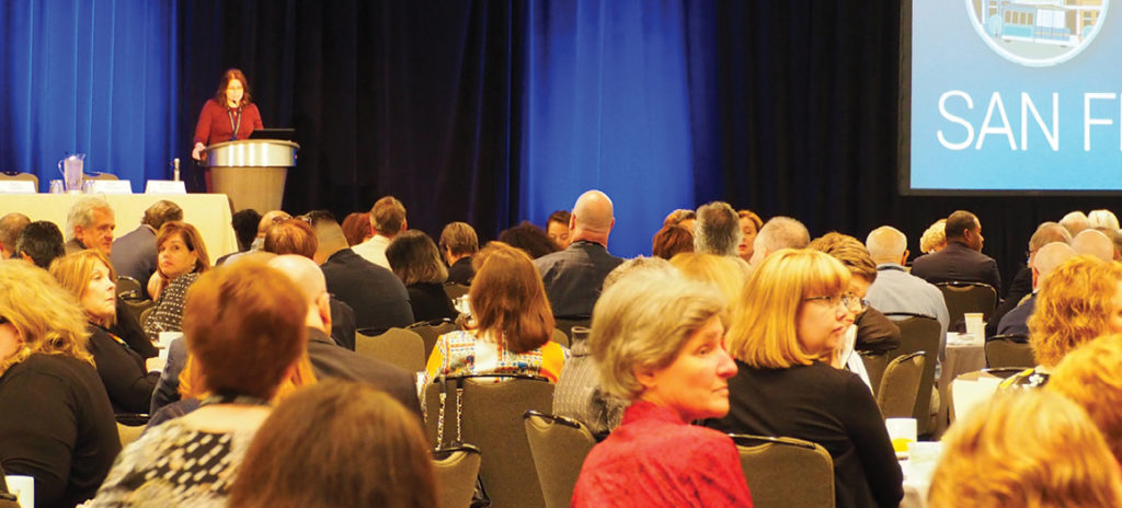 Photo taken at conference NCBE Board of Trustees Chair Michele Gavagni (FL) addressing attendees