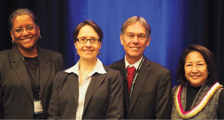 Photo taken at conference of  Hon. Phyllis Thompson (moderator, DC), Hon. Jenny Rivera (NY), Hon. Scott Bales (AZ), Hon. Paula Nakayama (HI)