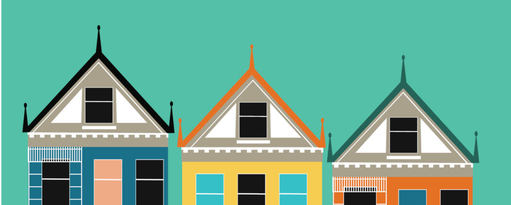 Illustration of famous row houses of San Francisco