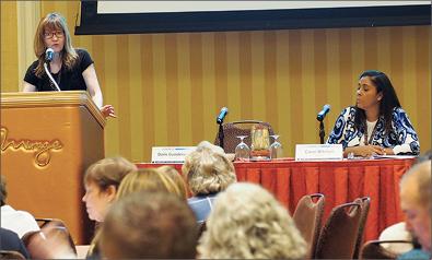 Photo taken at conference of Doris Gundersen and Carol Mitchell
