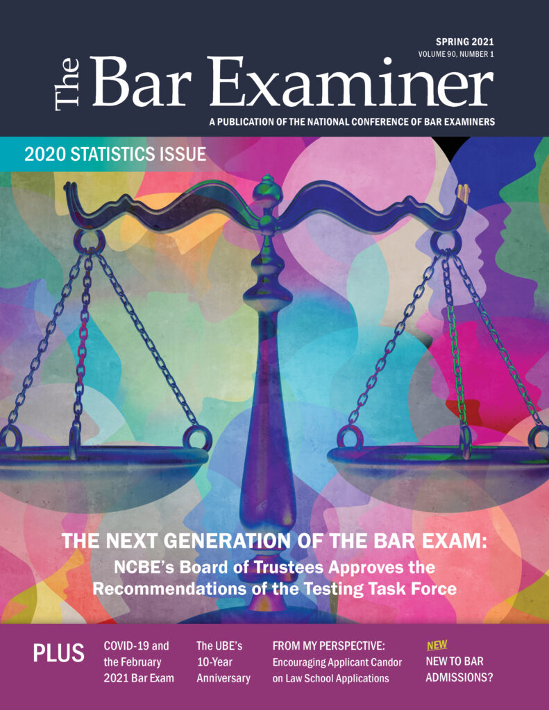 Cover of the Spring 2021 Bar Examiner with a scales of justice as the picture