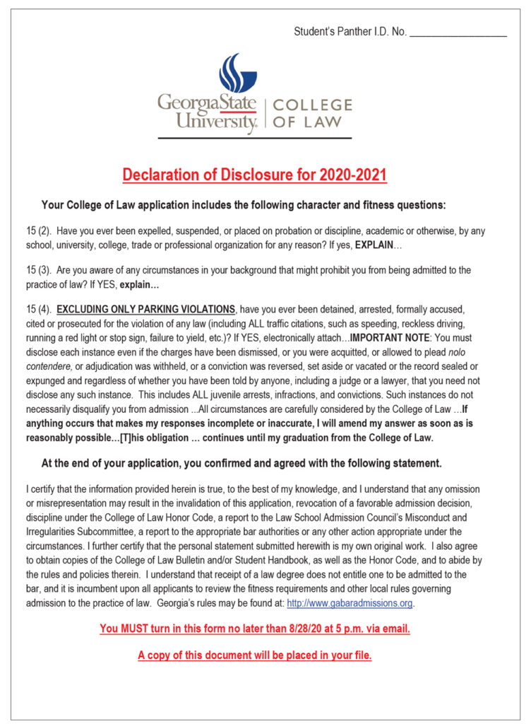 The first page of Georgia State University College of Law's Declaration of Disclosure for 2020–2021 is shown here. It reminds the student of the character and fitness questions that were asked on the GSU law school application and the certifying statement each applicant had to agree to.