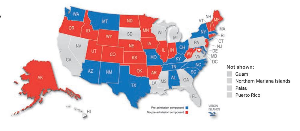Map showing jurisdictions that have a pre-admission component: Alabama, Arizona, Kentucky, Maryland, Massachusetts, Missouri, Montana, New Mexico, New York, North Carolina, Ohio, South Carolina, Tennessee, Texas, Washington, Virgin Islands