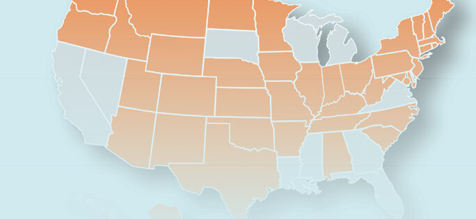 decorative image of a map of the US with states that are UBE jurisdictions colored orange. It is not a complete map and not meant to be used for referencing purposes