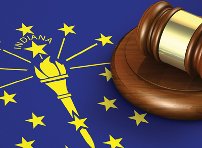 photo of emblem of the Indiana flag with a gavel sitting beside it